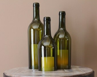 Wine Bottle Candle Holder/Shades (Set of 3) - 750ml Recycled Bordeaux Bottles - GREEN