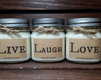 Live Laugh Love - Candle Set - Wedding Candles - 8oz  Soy Candles Handmade - Housewarming Gift  - Birthday Gift - Homemade - Mom Gift