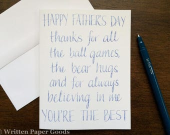 Father's Day Card - Ball Games and Bear Hugs - For the Dad Who Loves Baseball or Football - Watercolor and Calligraphy/Hand Lettering