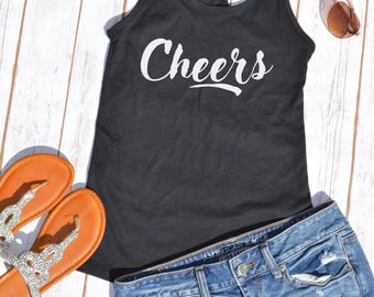 Cheers tank top- Summer tank- Vacation tank- Sunday Funday top- vacation shirt- beach shirt- beachwear
