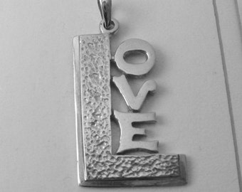 Genuine Solid 925 Sterling Silver LARGE LOVE Pendant
