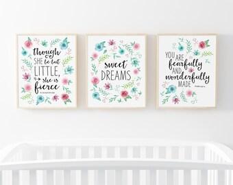 Set Of 3 Floral Nursery Print, Nursery Decor, Flowers Printable, Nursery Wall Art, 3 Pack Nursery Print, Watercolor Flowers, Hand Drawn