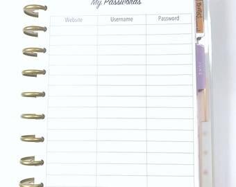 Password Log, Password Keeper, Password Tracker Inserts for Medium, Classic Happy Planner, Discbound Planner