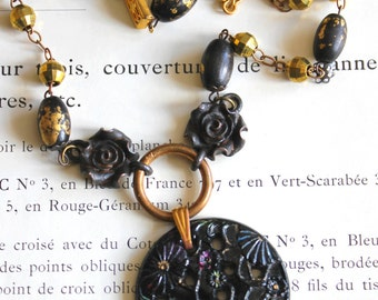 Art Deco necklace, Lalique like, black, gold, brass, art glass, flower, wood beads, rosary beads, vintage assemblage, handmade in France/064