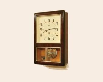 Vintage Wall Collectible mechanical Clock OЧЗ USSR, wooden clock,OCHZ - Yantar clock
