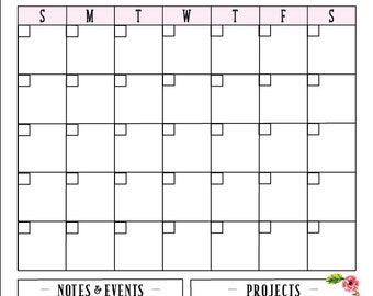 Personalized Calendar , Dry-Erase Project Calendar, School Calendar , Office Calendar , Girl Calendar , Floral Calendar ,