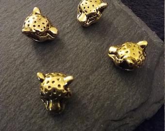 Leopard or Jaguar Head Beads Antique Gold Tone 3D Detailed Large Hole