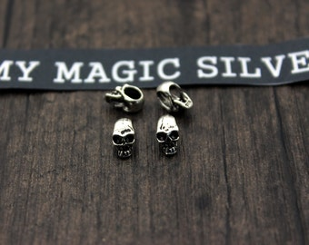 4pcs Sterling Silver Skull Beads,Silver Skull head,Silver Skull spacer bead,3D skull,Sterling Silver Beads