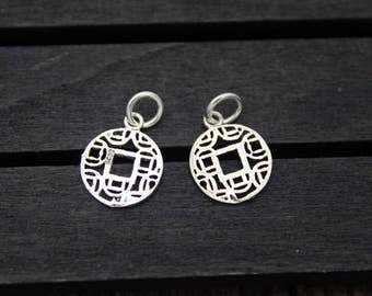 4 Sterling Silver Lucky Charm Pendant,12mm Good Luck Charms, Chinese Good fortune Charm Pendant