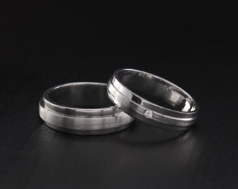 Wedding ring set his and her Etsy