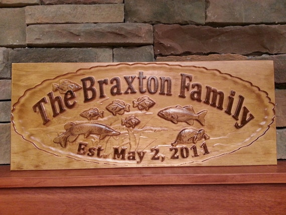Fishing sign bass sign man cave bass sign personalized lake for Fishing decor for man cave