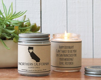 Northern California Scented Candle - Homesick Gift | Home Town Gift | State Scented Candle | I Love California | College Student Gift |
