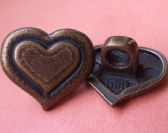 6 METAL BUTTONS bronze 14 x 16 mm (2629) buttons button metal heart
