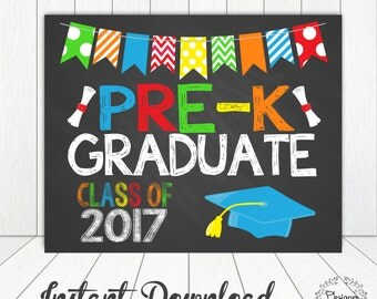 PRESCHOOL PRE-K GRADUATION Sign Chalkboard Poster Photo Prop 11x14 Printable Instant Download Digital File
