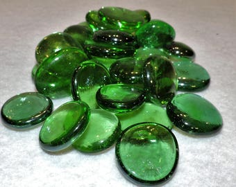 Large Flat Clear Green Glass Rocks - Mosaic Stones