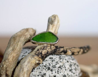 Handmade seaglass ring, sea glass ring, UK size N 1/2 ring, US size 6 3/4 ring, No. 14 size ring