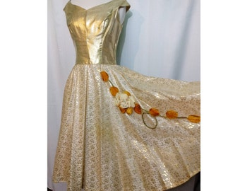 Gold 50s Dress with Fall Rose/Leaf Applique