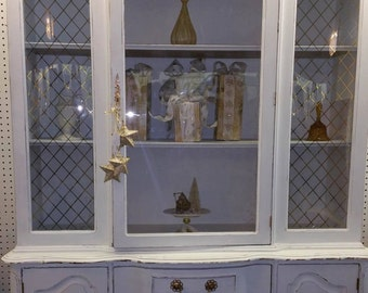 Gorgeous Shabby Chic White and Gold French Provincial Distressed Hutch, Farmhouse, Cottage Chic, China Cabinet, Chalk Paint