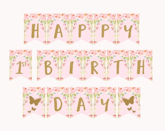 Butterfly Birthday Banner, Happy Birthday Bunting Banner, Printable Butterfly Birthday banner, pink and gold 1st first, 2nd, 3rd 4th bithday