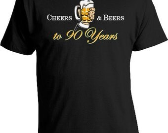 90th Birthday TShirt Personalized T Shirt Custom Birthday Gift For Him Bday Present B Day Cheers And Beers To 90 Years Old Mens Tee DAT-830