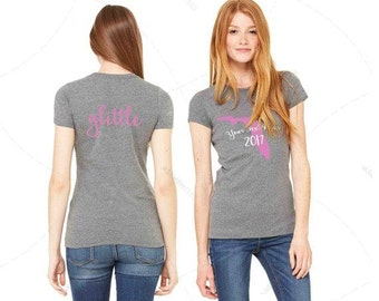 """Womens - Premium Ladies Fit """"Big Little GBig GGBig Twin or GLittle"""" + Any State! Custom Text! Front/Back 2017 (S,M, L, XL+)  Slim Fit"""