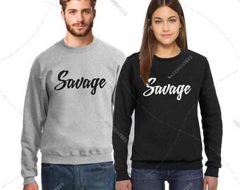 "Unisex - Premium Retail Fit ""Savage or Custom"" 2017 Crewneck, Sweater, Jumper, Fleece (S,M, L, XL+) Oversized? Order big! Box Logo"