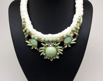 White light green bib statement crystal flower pendant women fashion collar necklace, jcrew necklace, Crystal clear necklace, Rope necklace