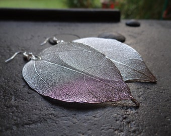 Real Natural Leaf Earrings, Silver Plated