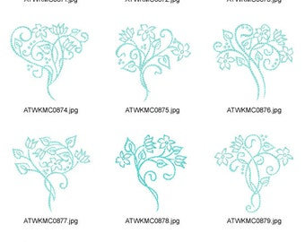 Art-Deco-bouquets. ( 10 Machine Embroidery Designs from ATW )