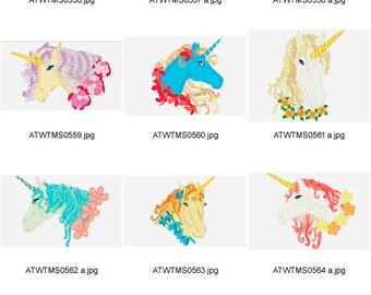 Unicorns. ( 10 Machine Embroidery Designs from ATW )