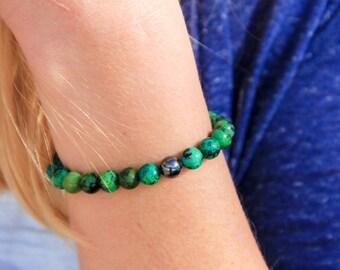 Chrysocolla Elastic Beaded Bracelet with Hematite Power Bead