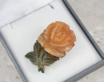 Vintage Celluloid Rose Brooch, Art Deco Rose Brooch, 3D Carved Celluloid Brooch, Yellow Rose Brooch, Vintage Rose Brooch