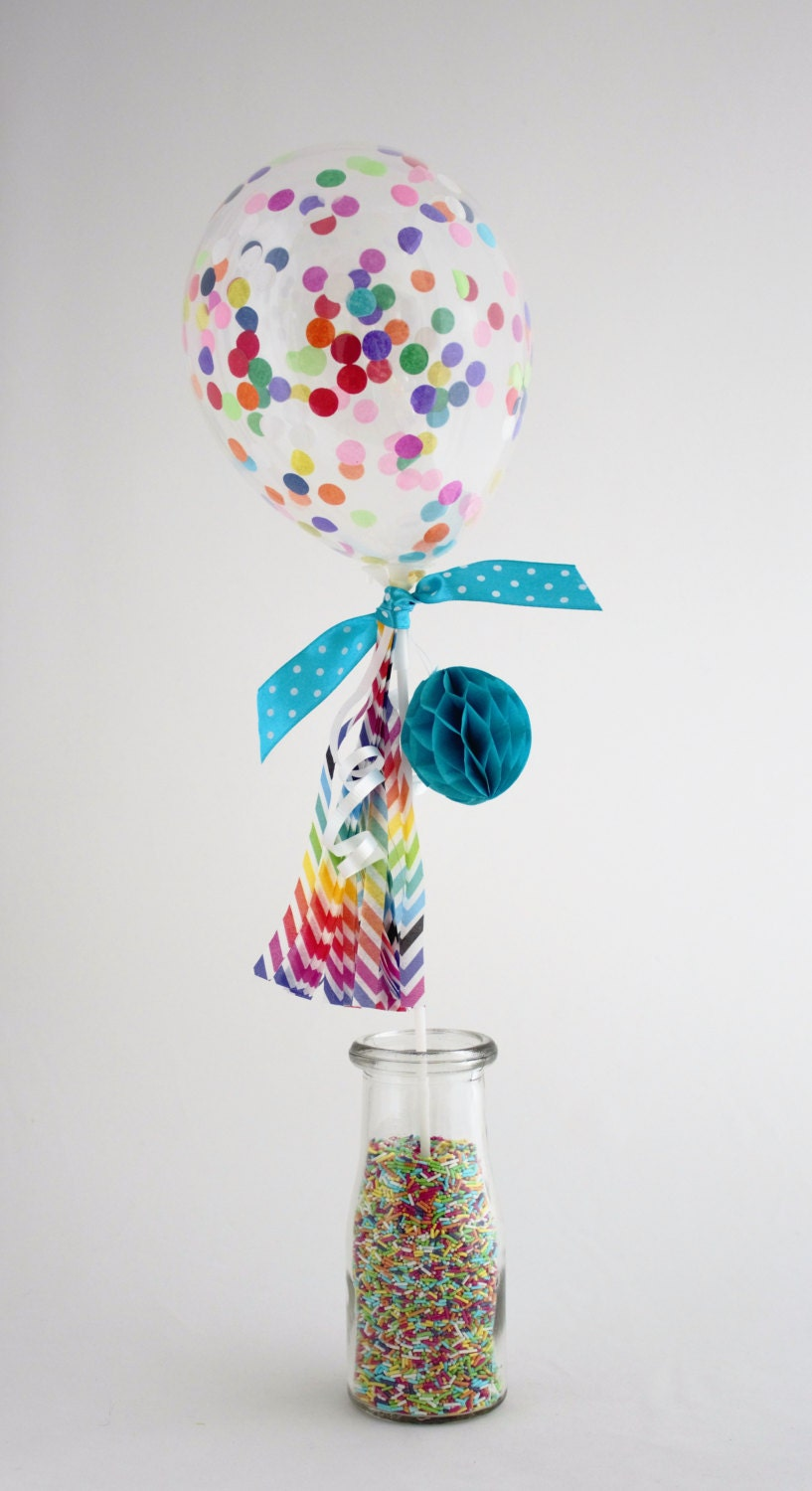 Confetti balloon cake topper mini birthday balloon filled for Balloon cake decoration