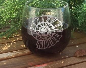 Stemless Wine Glass-Engraved-Seashell-Summer-Beach
