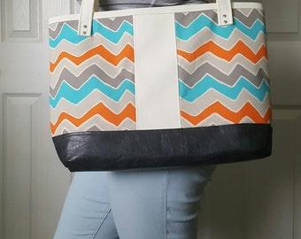 Gray Teal Orange Tote Bag - Faux Leather Bag - Shoulder Bag - Handbag - Diaper Bag - Laptop Bag - Tote - Zig Zag Bag For School - Gift Ideas