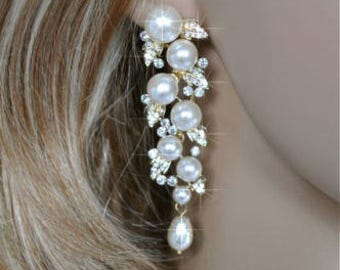 Vintage Inspired Crystal Rhinestone and Pearl Yellow Gold Chandelier Earrings, Bridal, Wedding (Pearl-124)