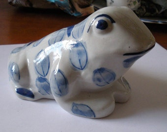 Large Blue & White China Frog or Toad Figure