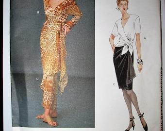 Vogue 1390 UNCUT Genny Designer Original Wrap Top and Skirt Sewing Pattern Size 12 14 16 Vintage 1990s