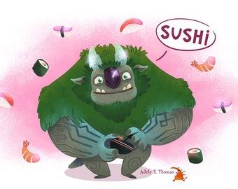Trollhunters AAARRRGGHH!!! Sushi Game Print