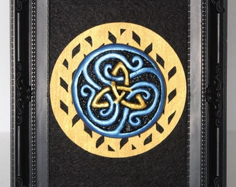 Celtic Triquetra  clay sculpture wall hanging