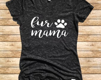 Women's Form Fitting V-Neck Fur Mama Cursive - Dog Mom Shirt