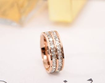 Rose Gold Plated Engagement Ring, CZ Wedding Band, Stacking Ring, Wedding Ring, (ring1002)