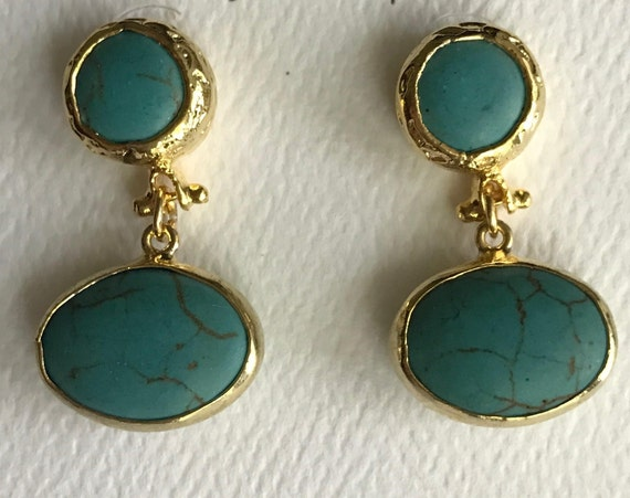 """Turquoise Earrings, Turquoise Gold Bezel Connector Post, Gold Plated, 1"""" Long"""