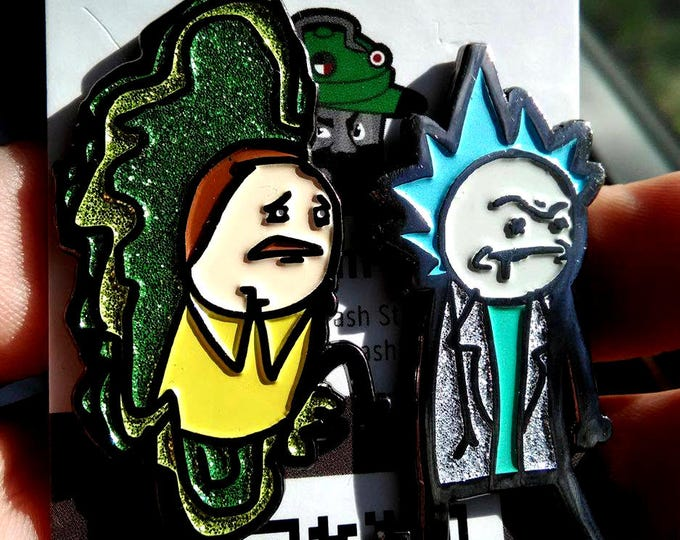 Rick and Morty Cyanide and Happiness Pin Pair (LE/10!) - (glitter set - POMI02+PORI02 matching)