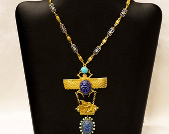 Askew London Egyptian Revival Open Wing Scarab Beetle Necklace