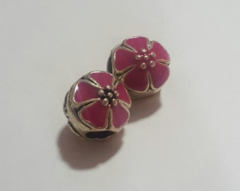 Pretty Flower Spacer/European Bead for Snake Bracelets, (2pc). Fits all Designer and European Charm Bracelets