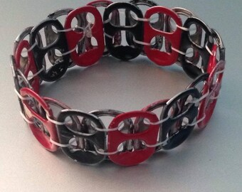Red & Black Pop Can Tab Bracelet