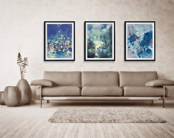 Abstract Print Set of THREE, Abstract, Giclee Print, Blue Abstract, Large Abstract Print, home decor, wall print, ZDQ5866120