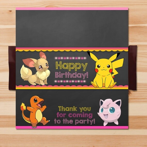 Pokemon Candy Wrapper - Pink Chalkboard - Girl Pokemon Pikachu Chocolate Wrapper - Pokemon Party - Pokemon Printables - Evee - Jiggly Puff