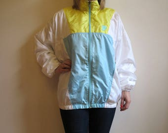 White Yellow Light Blue Jacket Womens Sport Jacket Womens Vintage Windbreaker Ladies Jacket Lightweight Parka Large to Extra Large Size